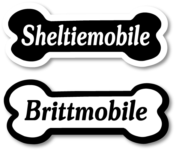 Dogmobile magnet with breed text