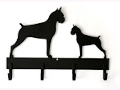 4 Hook 18 inch Leash Rack with 2 same Breed Silhouettes