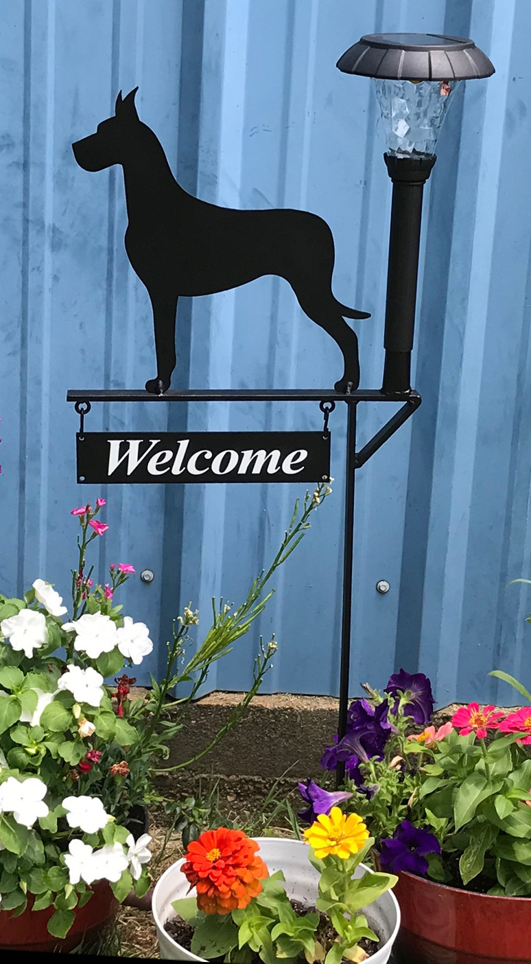 Welcome Sign Breed Silhouette Solar Light